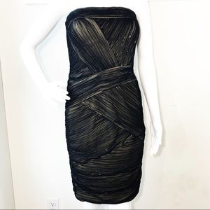 Tadashi Shoji Illusion Nude Black Cocktail Dress